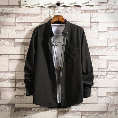 【K x S】襯衫外套長袖襯衫男士加肥大碼寸衫外套正韓百搭白色襯衣潮流男裝