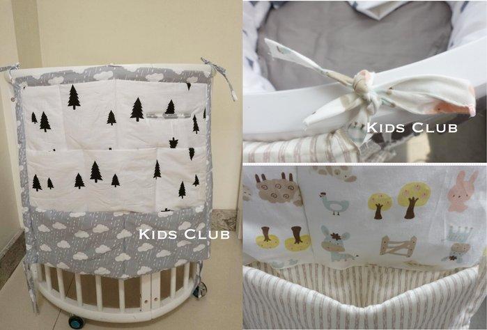 【Kids Club】嬰兒床寶寶兒童床訂製多款純棉花色超大夾棉床頭置物袋掛袋儲物袋床掛收納袋子