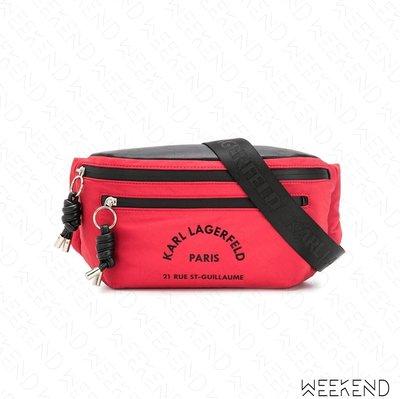 【WEEKEND】 KARL LAGERFELD Rue St Guillaume 卡爾 腰包 胸口包 紅色 19秋冬