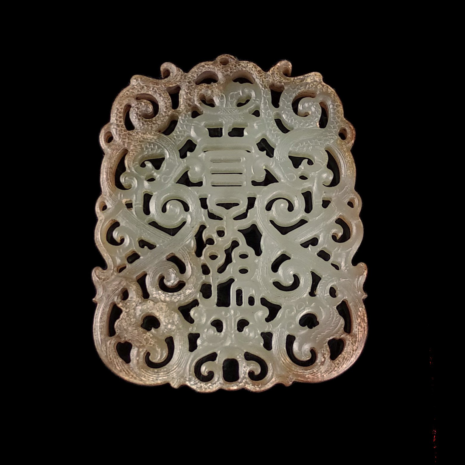《博古珍藏》和闐玉雕宜子孫玉佩.43公克.把玩珮飾品配件.早期收藏.老件文物.國際拍賣級.底價回饋