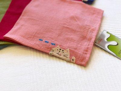 日本卡拉貓~喵的美味小魚抗菌純棉手帕 方巾