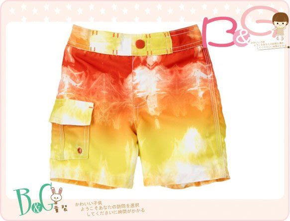 【B& G童裝】正品美國進口GYMBOREE Tie Dye Swim Trunk暈染橘色海灘褲2yrs