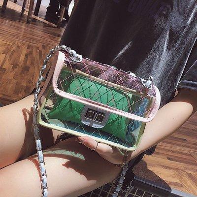 手拿包 錢夾 手提包 側背包 後背包 夏天小包包女透明糖果果凍包斜挎鏈條斜跨honey蹦迪包