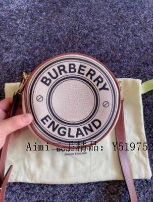 Aimi二手精品 Burberry Louise 圓餅包 2020新款標誌圖案帆布 肩背/斜背包 80276021