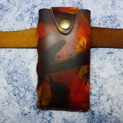 哈尼店鋪*鉚釘后卡位手機皮套掛腰包真皮男小米9seCC9e紅米K20note8Pro ZMK