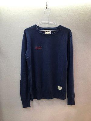 本土潮牌 CABAL 藍色 刺繡logo 毛衣 M號