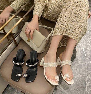美美韓女鞋珍珠涼鞋女仙女風20涼拖夏套趾高跟粗跟百搭海邊度假拖鞋外穿杏色