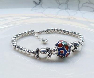 嗨,寶貝銀飾珠寶* 925純銀飾 DIY串珠配件☆925純銀泰銀 景泰藍民族風手鍊 此款設計是以銀鍊串起,所以非常耐用及勞固