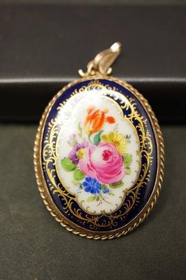 德國名瓷麥森Meissen 鈷藍釉花卉畫 墜飾 一級典藏品 歡迎提問詢價