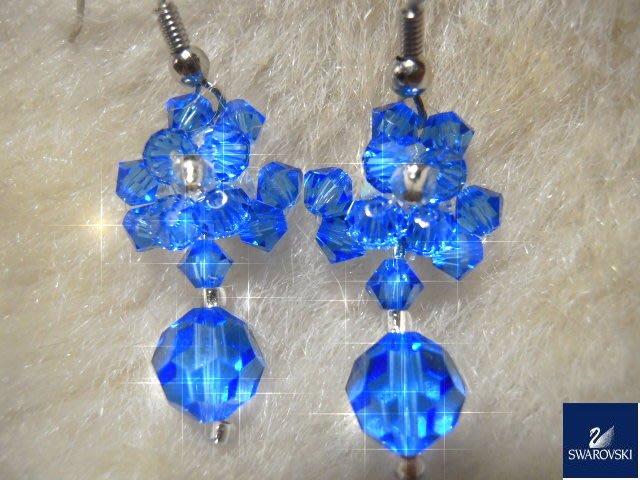 ※水晶玫瑰※ SWAROVSKI 地球珠水晶 耳勾式耳環(DD434)