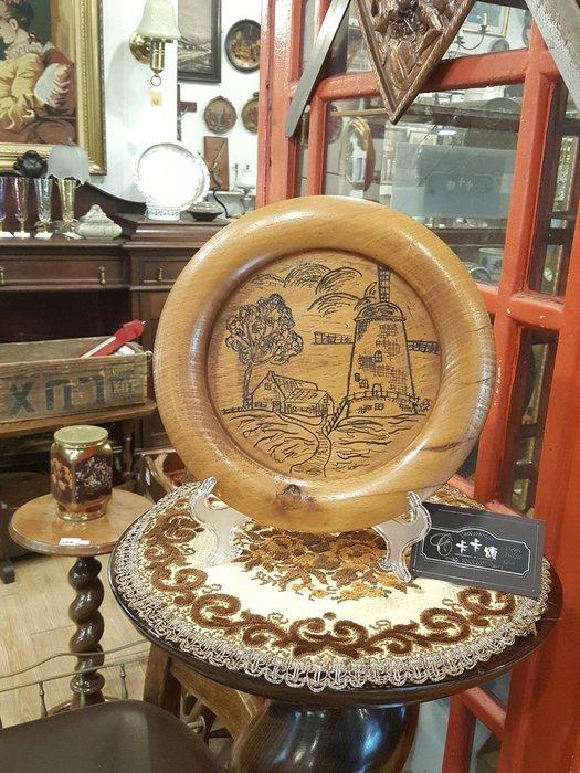 【卡卡頌 歐洲跳蚤市場/歐洲古董】歐洲老件_手繪 風車風景 實木掛盤 木盤掛畫 w0160✬