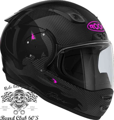 ♛大鬍子俱樂部♛ ROOF® RO200 Panther 法國 原裝 極輕量 頂級規格 全碳纖維 全罩 安全帽 黑/粉