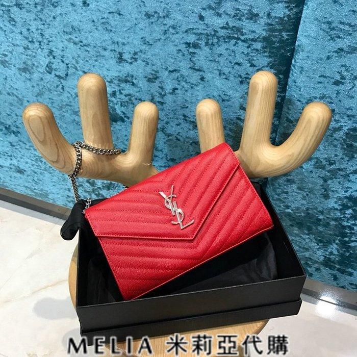 Melia 米莉亞代購 歐洲代購 Saint Laurent YSL 18ss 8月新品 背帶可拆當手拿包 紅色銀字
