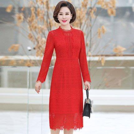 妞妞 婚紗禮服~紅色黑色蕾絲修身顯瘦氣質婆婆媽媽媒人婆喜宴洋裝禮服~3件免郵