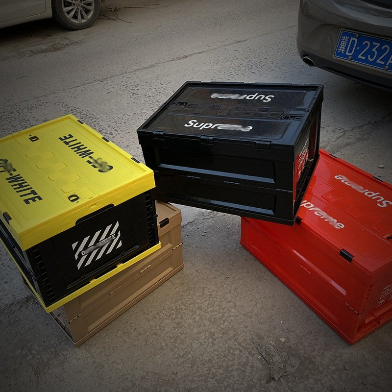 潮牌SUP汽車后備箱儲物箱日系折疊車載收納箱 塑料整理箱儲物盒 雲上仙