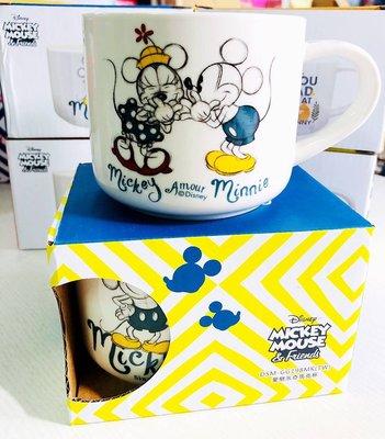大賀屋 正版 米奇 米妮 素描 馬克杯 杯子 水杯 茶杯 陶瓷杯 陶杯 迪士尼 米老鼠 T00120670