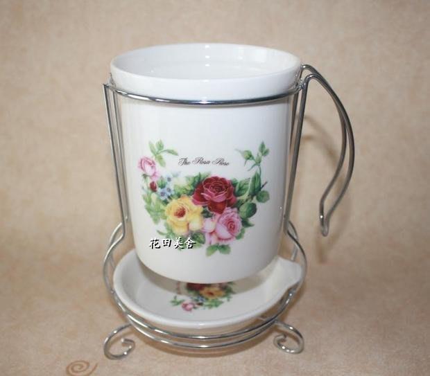粉紅玫瑰精品屋~出口韓國陶瓷玫瑰創意筷筒 餐具筒~