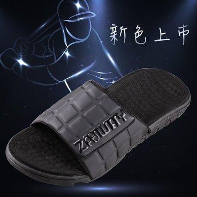 [穿斷換給你]男鞋 棒球魔鬼氈全黑懶人鞋拖鞋【ZABWAY】涼鞋(有大尺碼)