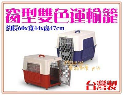 【Plumes寵物部屋】台灣製造-皇冠《窗型手提雙色運輸籠-大》寵物籠/外出提籠/空運籠KW640