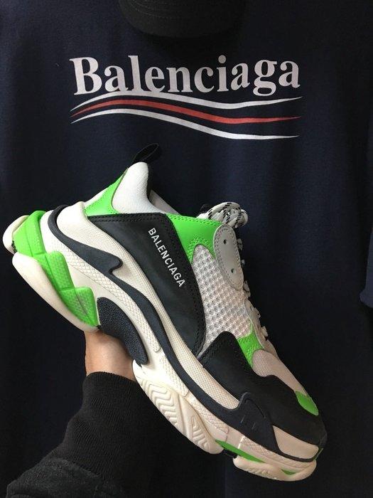 [ 羅崴森林 ] 巴黎世家Balenciaga SS19 Triple S螢光青黑42