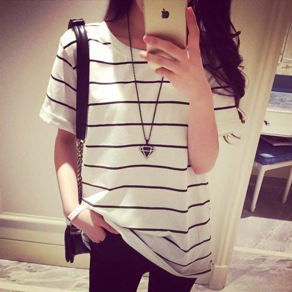 韓版經典百搭寬鬆條紋卷邊短袖T恤女(T-0408)均碼