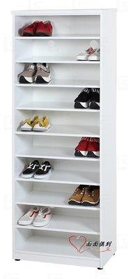 [面面俱到]降價啦~塑鋼2.1尺開放式防水大空間鞋櫃(附九片隔板/可調高低)寬65深37高180cm
