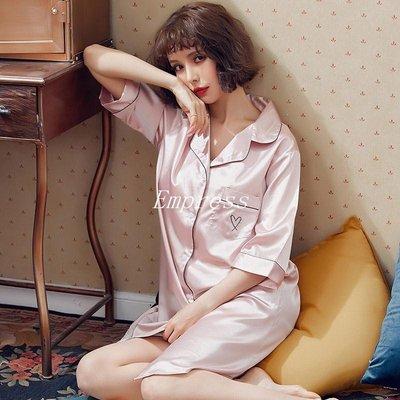 Empress丶睡裙女夏季襯衫睡裙冰絲家居服性感真絲寬松七分袖大碼蠶絲睡衣女