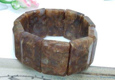 【柴鋪二館】至純老礦海螺化石法螺天珠 板珠 極品手排(編號5)