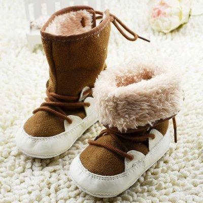 寶貝倉庫~咖啡可反折保暖雪鞋~學步鞋~...