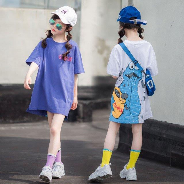 iKIDS♬2019夏季 新款 韓版 女童 童裝 中童 大童 熱門卡通 潮品 短袖 長版 T恤 親子裝(預購) PO