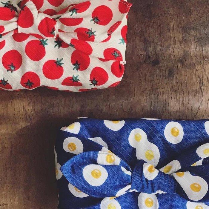 發現花園生活館~日本製  便當包巾 風呂敷 ~荷包蛋/番茄/達摩/咖啡豆/飯糰