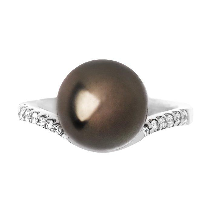【JHT 金宏總珠寶/GIA鑽石專賣】11.1mm天然黑珍珠戒指/材質:18K(KBP02-1939_PP00034)