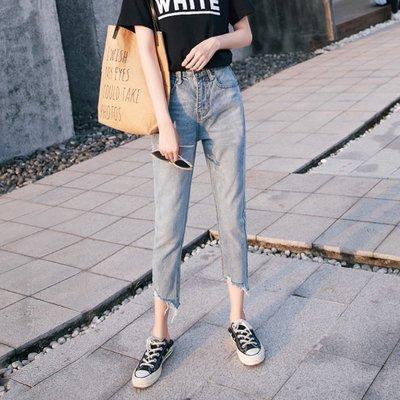 丹寧牛仔褲下著正韓國版高腰破洞九分牛仔褲女 哈倫寬松闊腿復古港味chic直筒褲子11-2