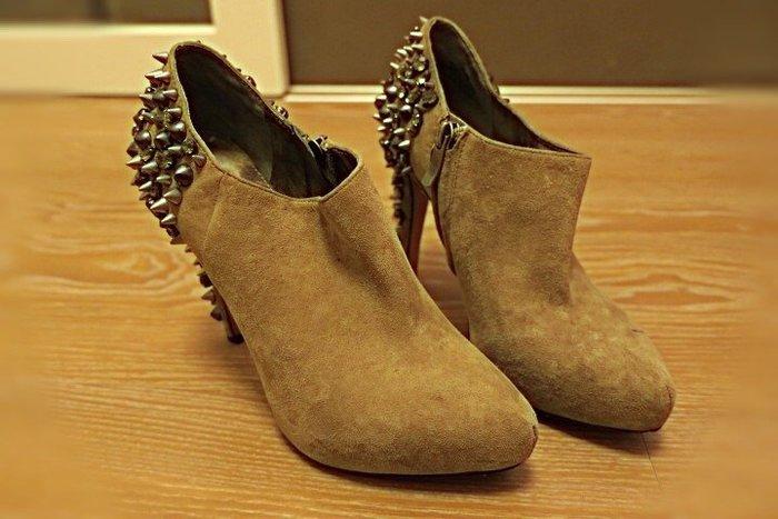 *Beauty*Sam Edelman 二手鞋灰色麂皮卯釘水鑽 高跟踝靴 36號 CR