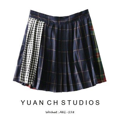 格子 洋裝 正韓版西班牙單 格子短裙英...