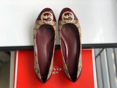 COACH 豆豆鞋 休閒鞋 漆皮拼接帆布 經典C圖案 內裡羊皮 上腳舒服 附禮品盒