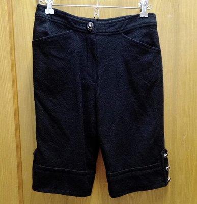 2本舖◎ 美麗諾羊毛 毛呢褲 五分褲 黑色 腰78cm 9成新 台中市