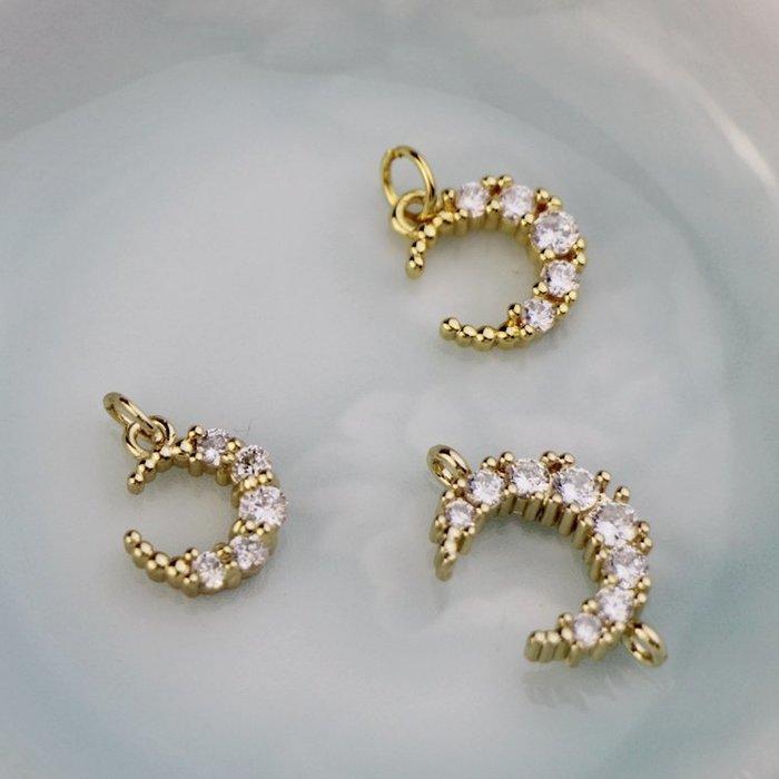 西柚姑娘雜貨鋪☛14K包金配件鋯石鑲嵌小月亮掛飾吊墜手鏈項鏈配飾diy手工飾品配件