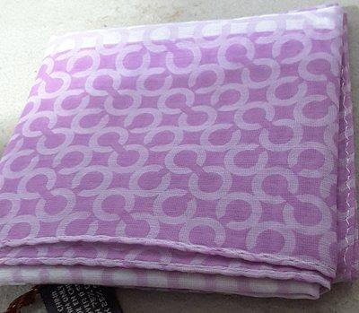 全新】㊣Coach C Logo 粉紫雙色絲巾/方巾,附專櫃禮盒,僅此1組