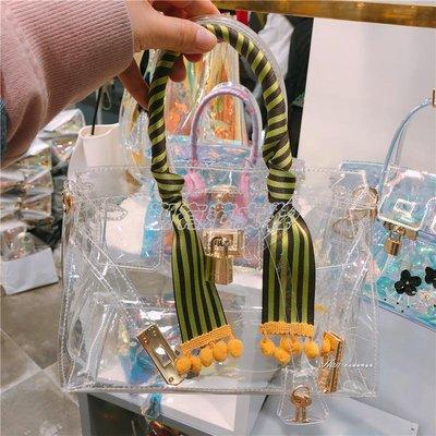 潮有范女鞋#2018春夏新款女包 透明流蘇度假風包包