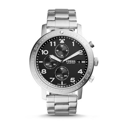 《Vovostore》Fossil CH3082 黑底三環不鏽鋼鍊錶 **附收據、保證書**(2850含郵)