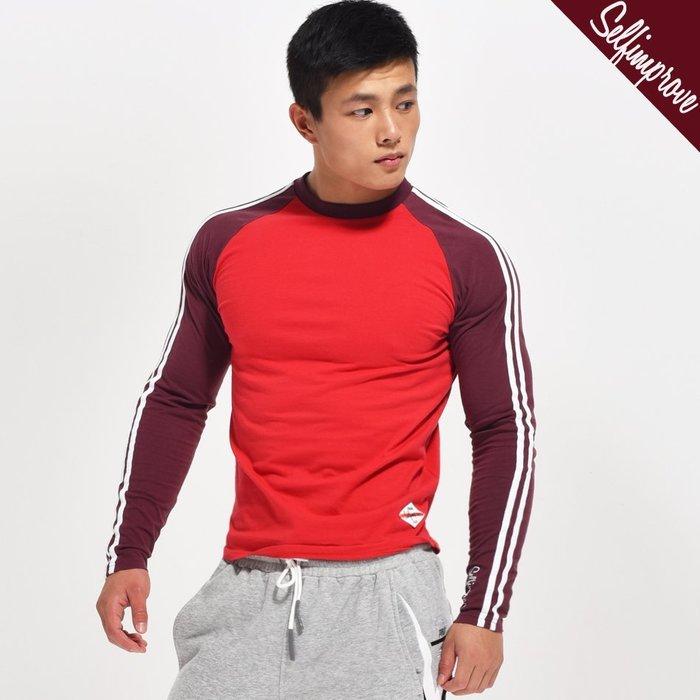 【OTOKO Men's Boutique】固制:秋冬純棉復古修身插肩長T/紅/深紅色