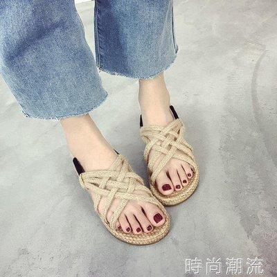 ZIHOPE 羅馬涼鞋夏季文藝復古森系麻繩編織女學生百搭平底沙灘鞋ZI812