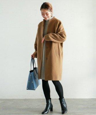  The Dood Life NOMBRE IMPAIR / 氣質圓弧立領 輕量羊毛外套 溫暖繭型長大衣