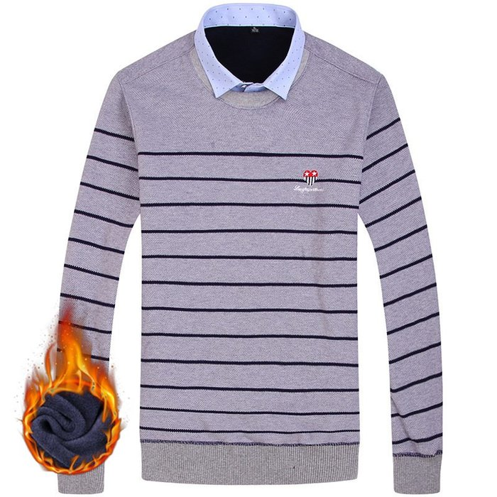 保暖襯衫熱賣外貿超便宜 秋冬保暖套頭襯衫男士打底衫襯衣領假兩件針織衫男 打底襯衫