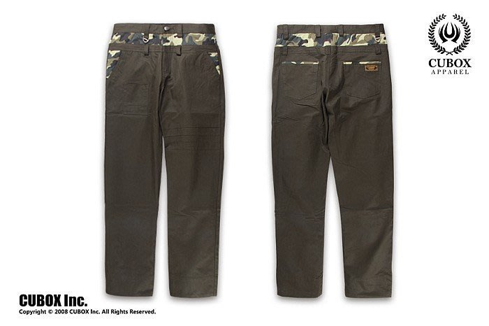 CUBOX Dense Fog At Night Work Pants 濃霧之夜迷彩拼接褲 (軍綠)