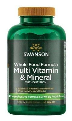 Swanson Whole Food Formula全食物綜合維他命不含鐵 90顆