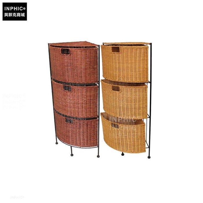 INPHIC-竹藤編三角櫃邊櫃客廳歐式現代轉角拐角櫃收納櫃抽屜整理櫃牆角櫃