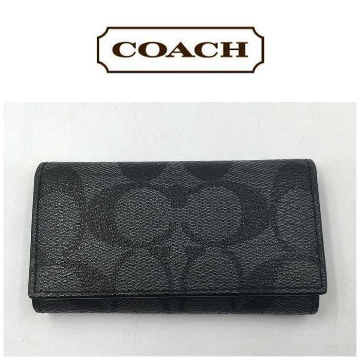 【皮老闆二店】 二手真品 近全新 Coach  鑰匙包 短夾 錢包 皮夾 卡夾   T27