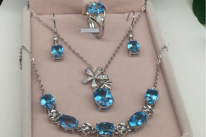 天然藍托帕石(頭等艙精品)套装 925銀鑲镀白K金 附贈證書 含耳環  項鍊吊墜 活口戒指 手鍊
